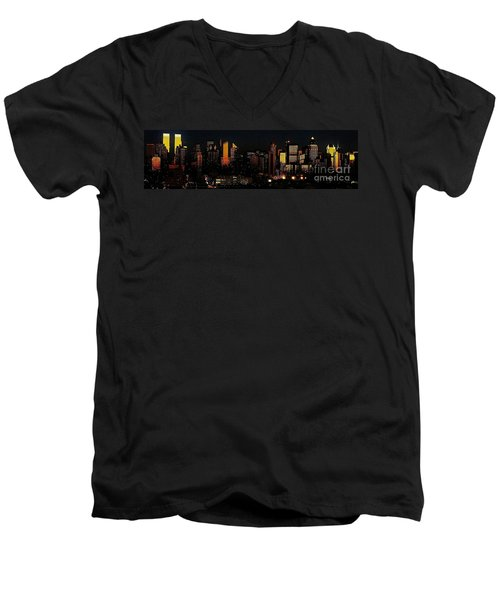 Men's V-Neck T-Shirt featuring the photograph Twilight Reflections On New York City by Lilliana Mendez