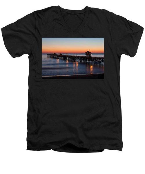 Twilight San Clemente Pier Men's V-Neck T-Shirt