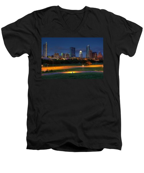Men's V-Neck T-Shirt featuring the photograph Twilight Skyline by Dave Files