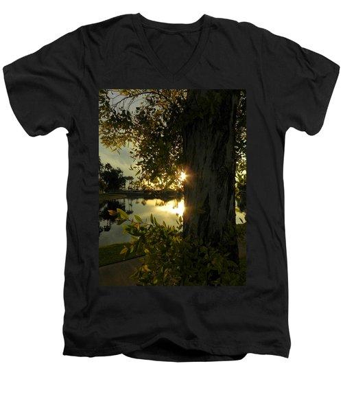 Men's V-Neck T-Shirt featuring the photograph Twilight Splendor by Deb Halloran