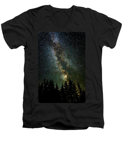 Twinkle Twinkle A Million Stars  Men's V-Neck T-Shirt by Wes and Dotty Weber