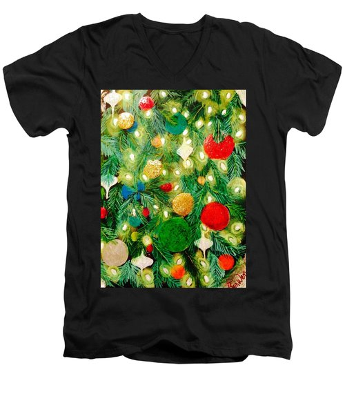 Twinkling Christmas Tree Men's V-Neck T-Shirt