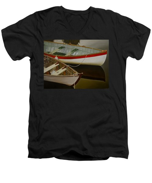 Two Boats Men's V-Neck T-Shirt by Thu Nguyen