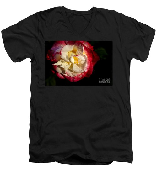 Men's V-Neck T-Shirt featuring the photograph Two Color Rose by David Millenheft