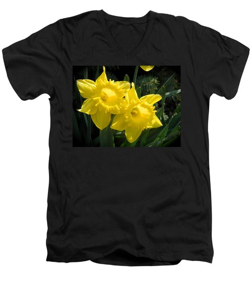 Two Daffodils Men's V-Neck T-Shirt by Kathy Barney
