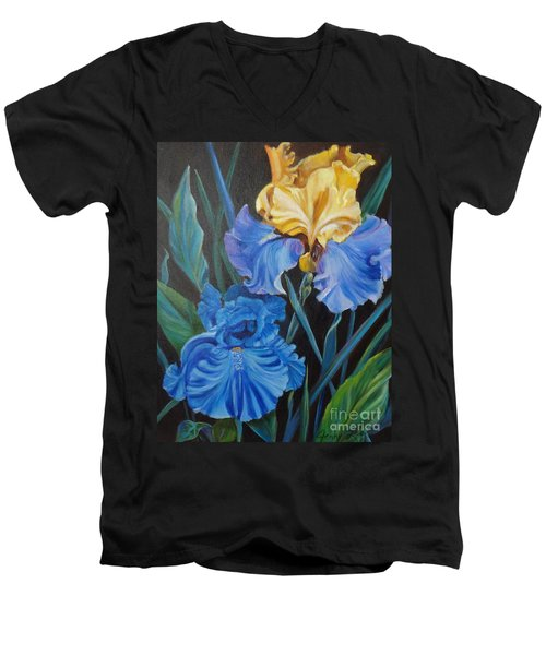 Men's V-Neck T-Shirt featuring the painting Two Fancy Iris by Jenny Lee