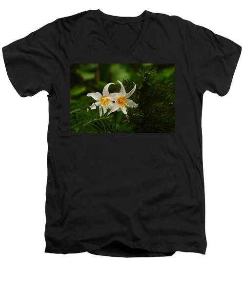 Two Lilies Men's V-Neck T-Shirt