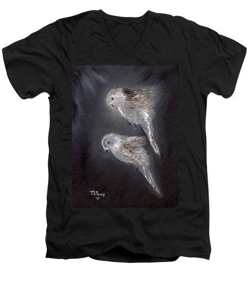 Men's V-Neck T-Shirt featuring the painting Two Spirits In The Night by Barbie Batson
