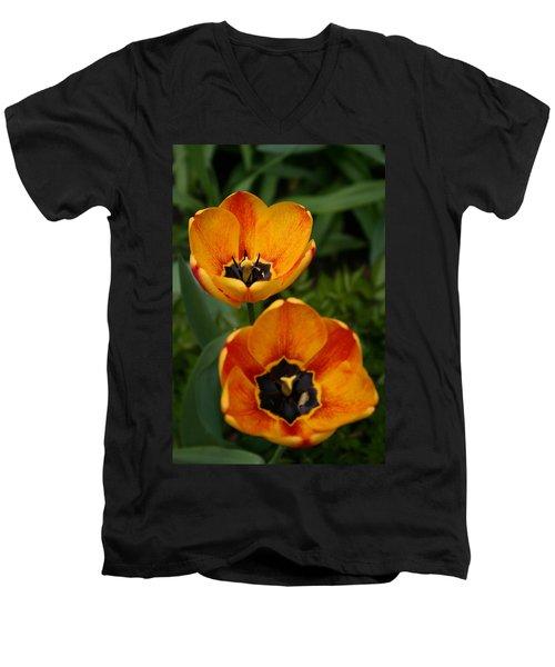 Two Tulips Men's V-Neck T-Shirt by Denyse Duhaime