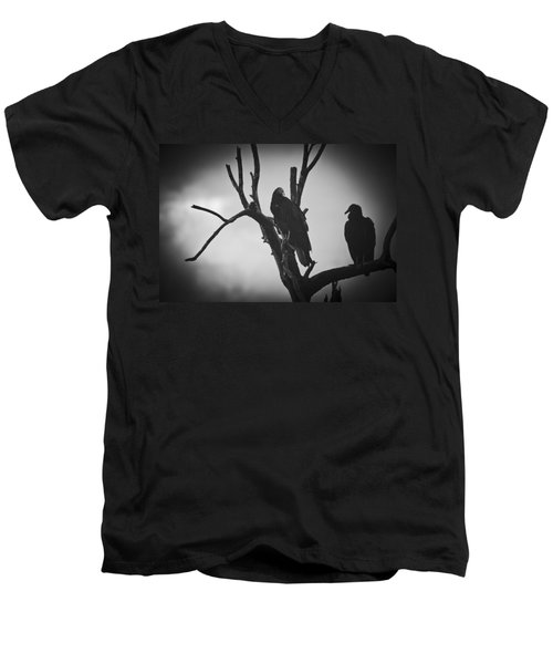 Men's V-Neck T-Shirt featuring the photograph Two Vultures by Bradley R Youngberg