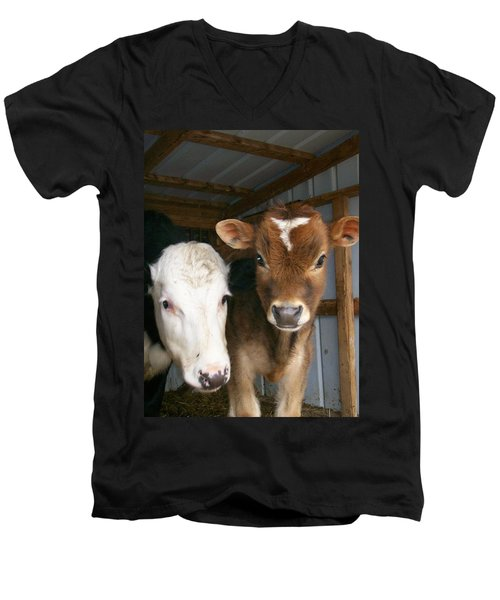 Men's V-Neck T-Shirt featuring the photograph Two's Company by Sara  Raber