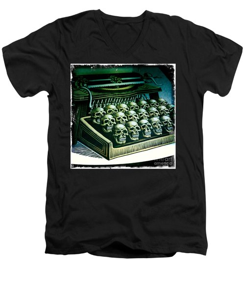 Typewriter With A Difference Men's V-Neck T-Shirt by Nina Prommer