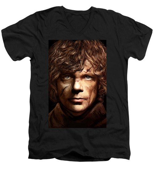 Men's V-Neck T-Shirt featuring the painting Tyrion Lannister - Peter Dinklage Game Of Thrones Artwork 2 by Sheraz A