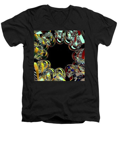 Men's V-Neck T-Shirt featuring the digital art U Of M Robot Huddle by Greg Moores