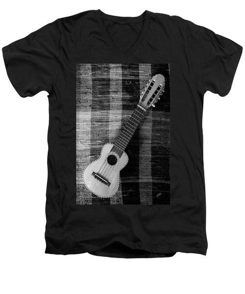 Ukulele Still Life In Black And White Men's V-Neck T-Shirt