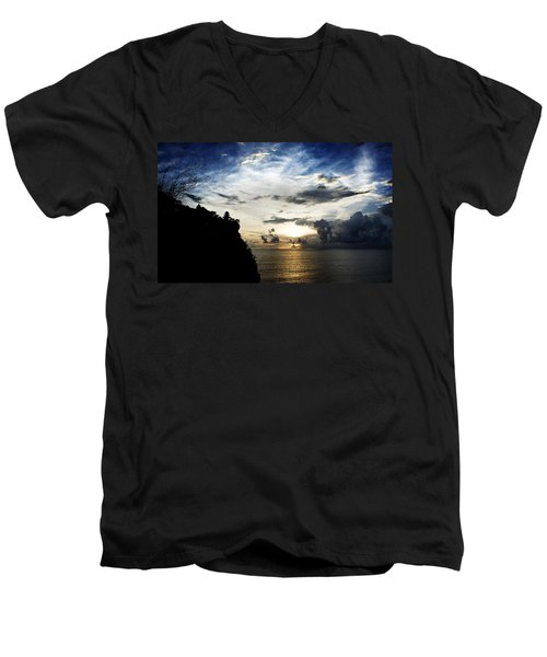 Men's V-Neck T-Shirt featuring the photograph Uluwatu Temple by Yew Kwang