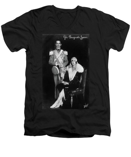 Men's V-Neck T-Shirt featuring the photograph Umberto II And Marie Jose by Granger