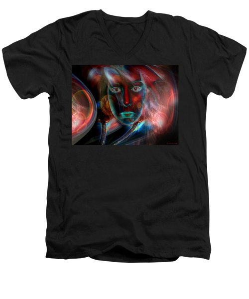 Men's V-Neck T-Shirt featuring the digital art Umbilical Connection To A Dream  by Otto Rapp
