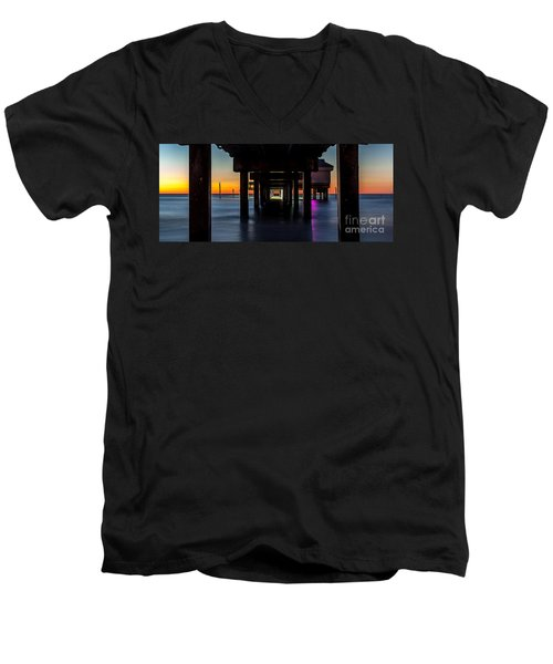 Under Clearwater Beach Pier Men's V-Neck T-Shirt by Steven Reed
