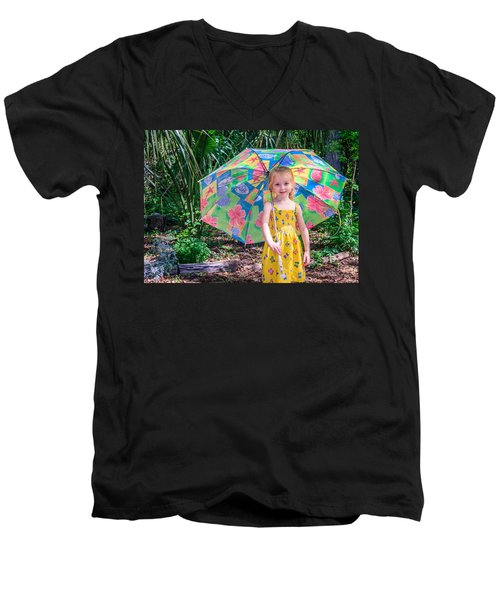 Men's V-Neck T-Shirt featuring the photograph Under My Umbrella by Rob Sellers