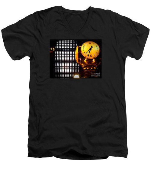 Under The Famous Clock Men's V-Neck T-Shirt by Miriam Danar