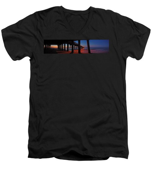 Men's V-Neck T-Shirt featuring the digital art Under The Gulf State Pier  by Michael Thomas