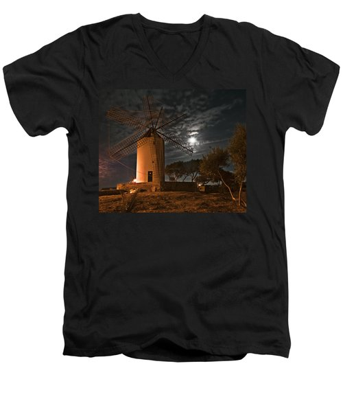 Vintage Windmill In Es Castell Villacarlos George Town In Minorca -  Under The Moonlight Men's V-Neck T-Shirt by Pedro Cardona