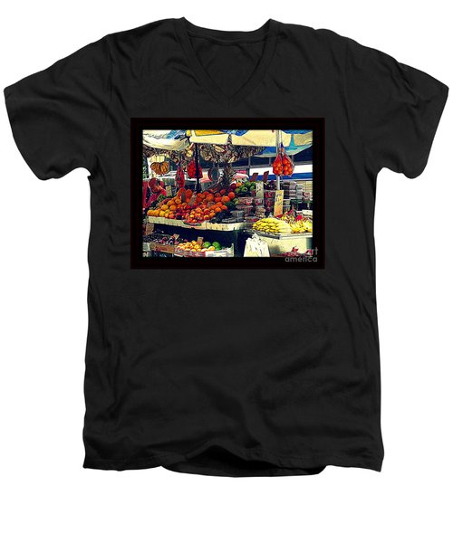 Men's V-Neck T-Shirt featuring the photograph Under The Umbrellas by Miriam Danar