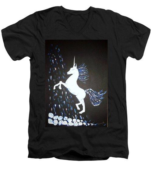 Unicorn Takes A Shower Men's V-Neck T-Shirt