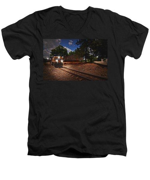 Union Pacific 7917 Train Men's V-Neck T-Shirt by Linda Unger