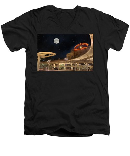 Union Station Denver Under A Full Moon Men's V-Neck T-Shirt