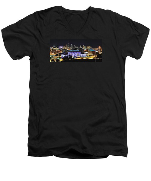 Union Station In Purple Men's V-Neck T-Shirt