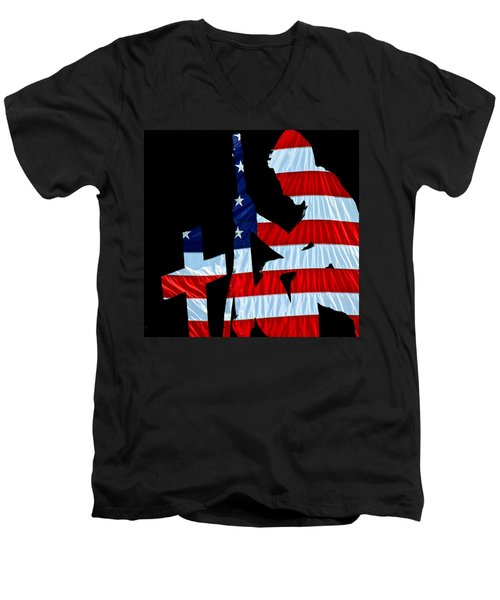 A Time To Remember United States Flag With Kneeling Soldier Silhouette Men's V-Neck T-Shirt by Bob Orsillo