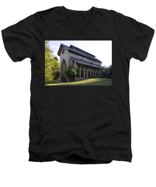 University Of Florida Chapel On Lake Alice Men's V-Neck T-Shirt by Lynn Palmer