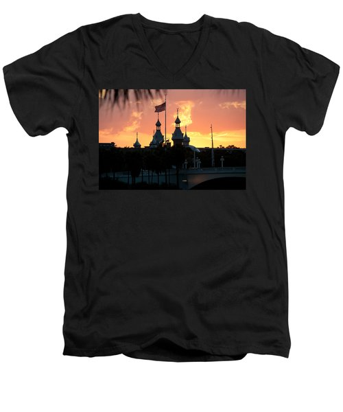 University Of Tampa Minerets At Sunset Men's V-Neck T-Shirt