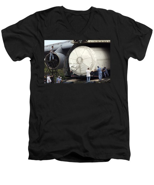 Men's V-Neck T-Shirt featuring the photograph Unloading A Titan Ivb Rocket by Science Source