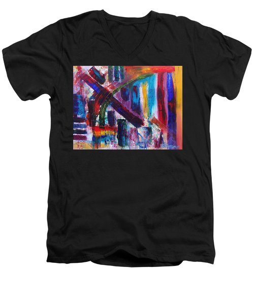 Men's V-Neck T-Shirt featuring the painting Untitled # 9 by Jason Williamson