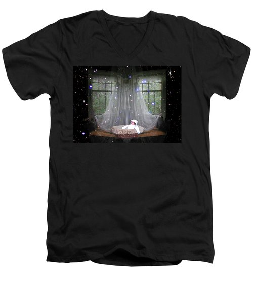 Men's V-Neck T-Shirt featuring the photograph Unto Us A Child Is Born by Paula Ayers