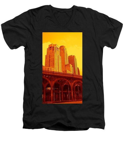 Upper West Side And Hudson River Manhattan Men's V-Neck T-Shirt