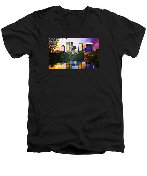 Men's V-Neck T-Shirt featuring the painting Urban Reflections by Al Brown