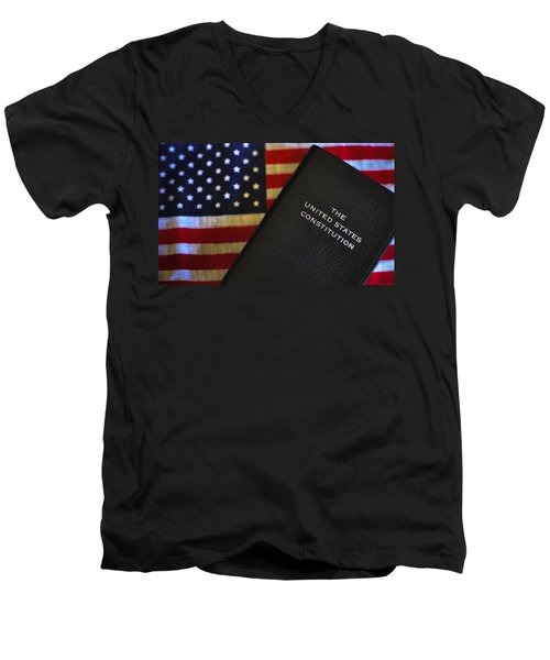 United States Constitution And Flag Men's V-Neck T-Shirt