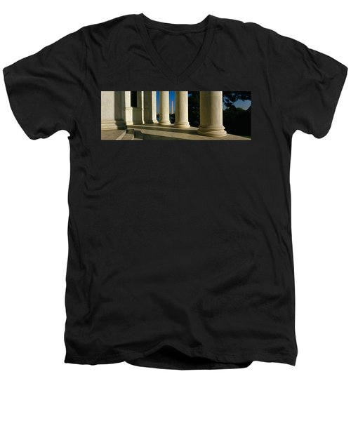 Usa, District Of Columbia, Jefferson Men's V-Neck T-Shirt by Panoramic Images