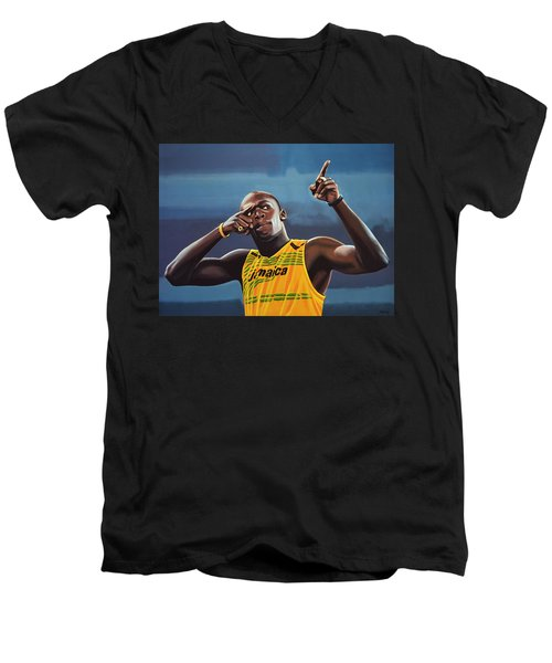 Usain Bolt Painting Men's V-Neck T-Shirt
