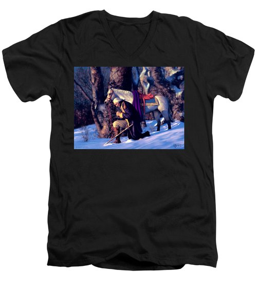 Men's V-Neck T-Shirt featuring the painting Valley Forge by Dave Luebbert