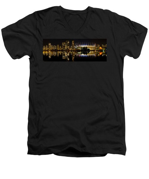 Men's V-Neck T-Shirt featuring the photograph Vancouver Bc Skyline Along False Creek At Night by JPLDesigns