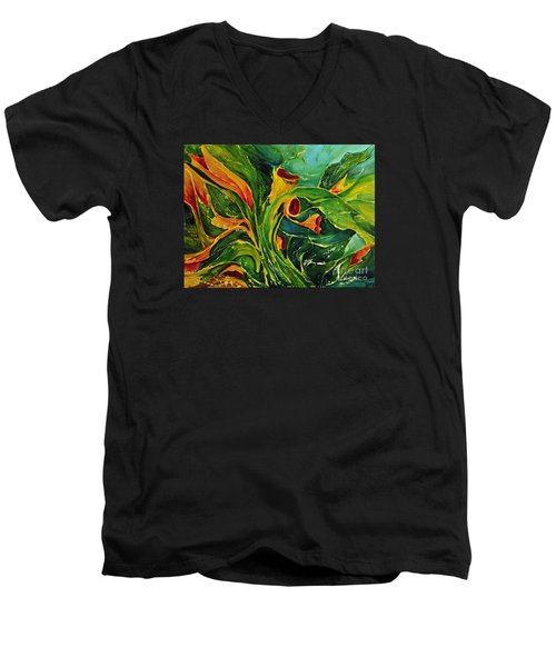 Men's V-Neck T-Shirt featuring the painting Variation  No.2 by Teresa Wegrzyn