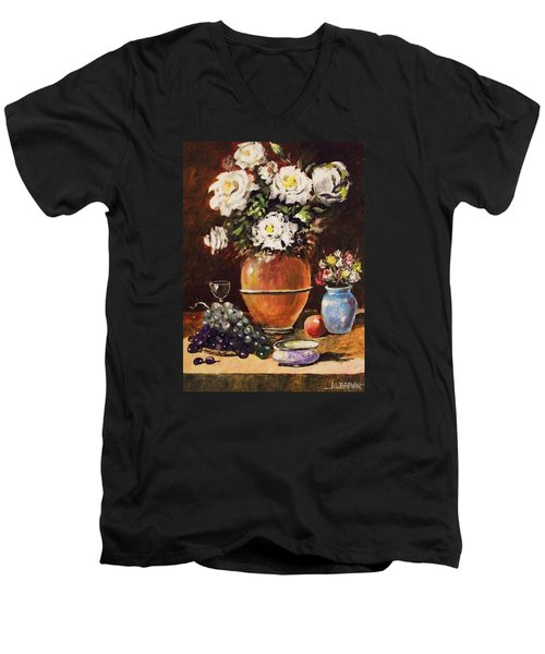 Men's V-Neck T-Shirt featuring the painting Vase Of Flowers And Fruit by Al Brown