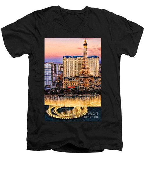 Men's V-Neck T-Shirt featuring the photograph Vegas Water Show by Tammy Espino