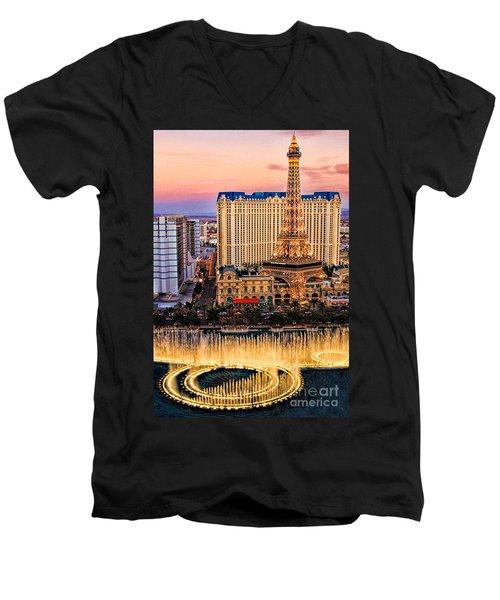 Vegas Water Show Men's V-Neck T-Shirt by Tammy Espino