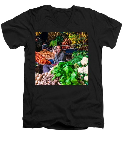 Vegetable Seller, Manali, India Men's V-Neck T-Shirt